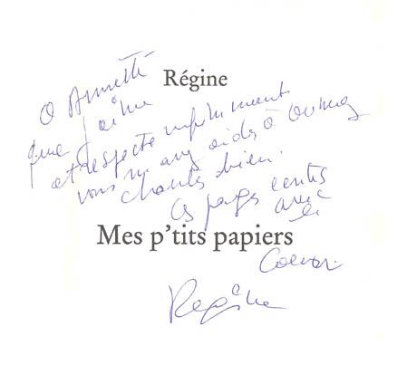 Autographe Régine