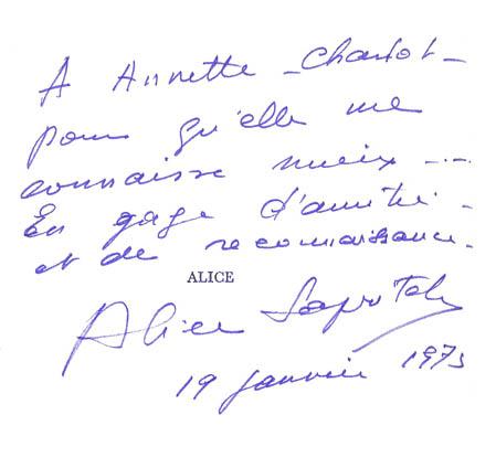 Autographe Alice Saprich